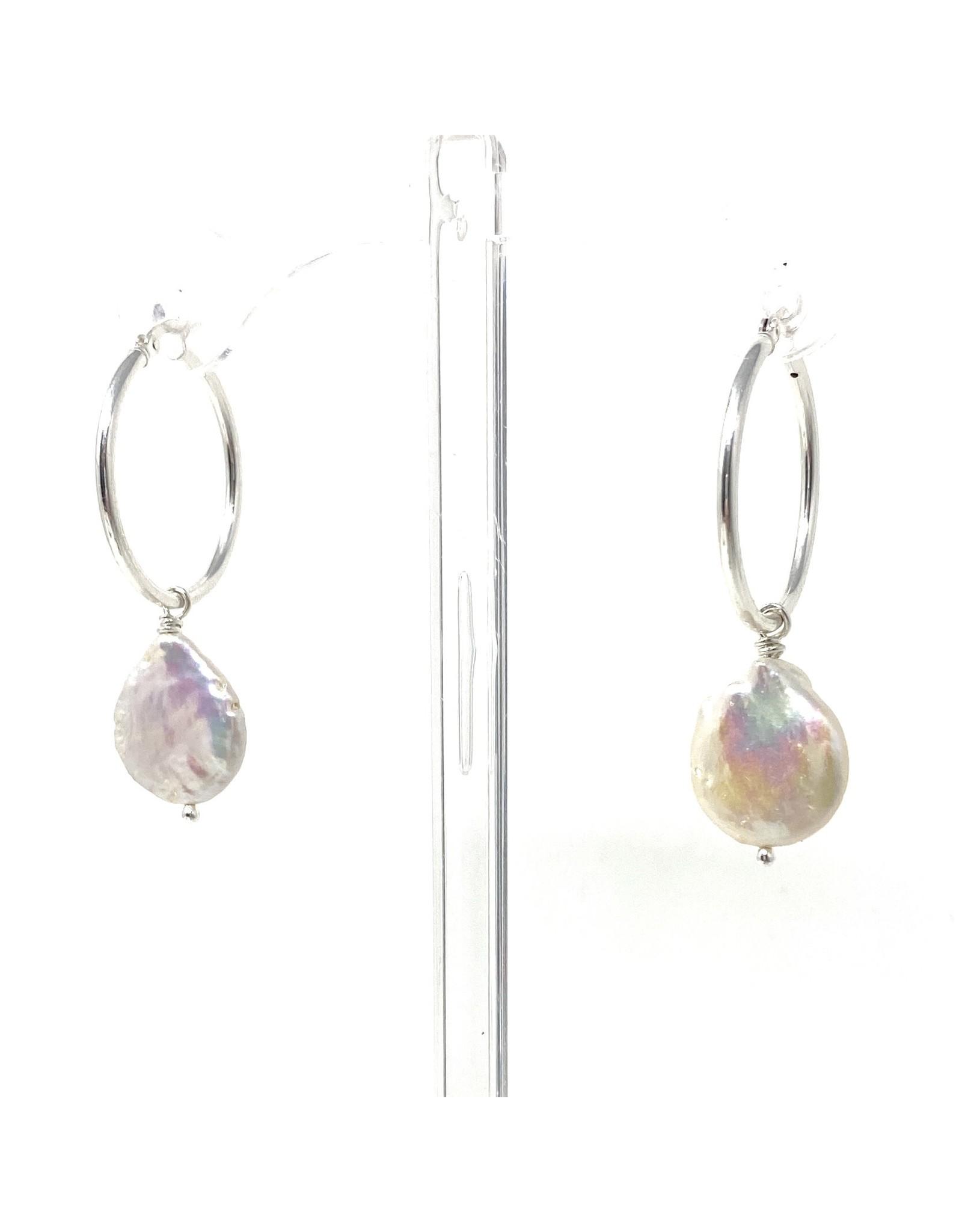 Large Coin Pearl Hoop Earrings