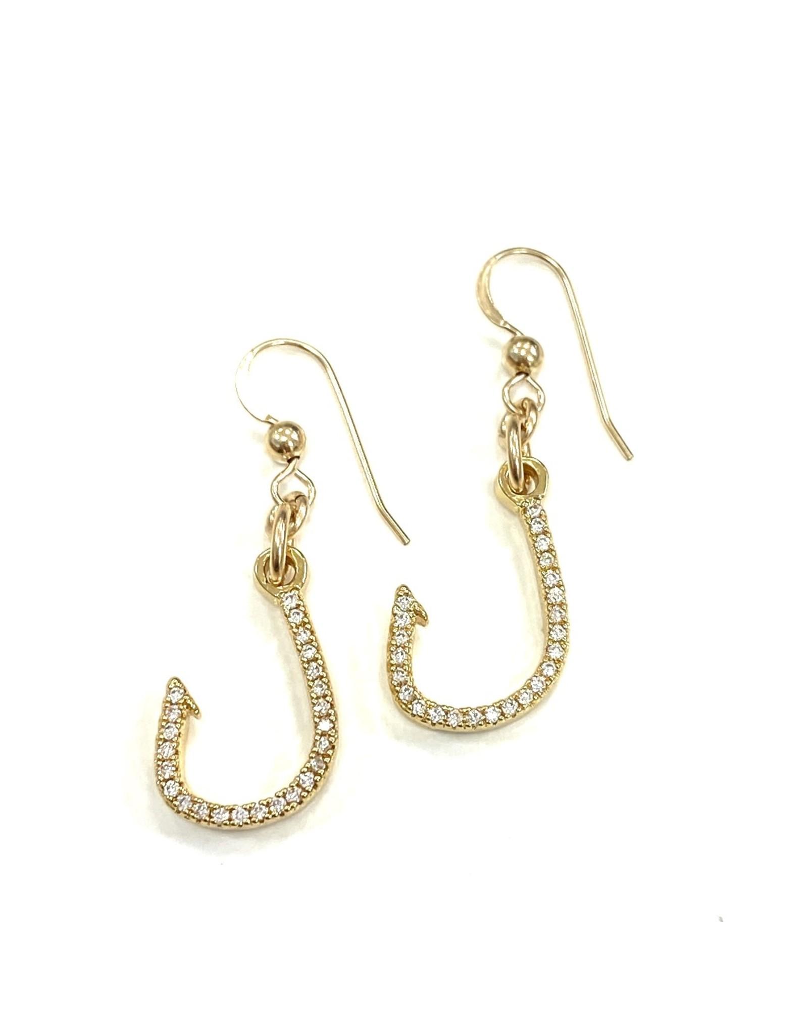 CZ GP Fishing Hook Earrings