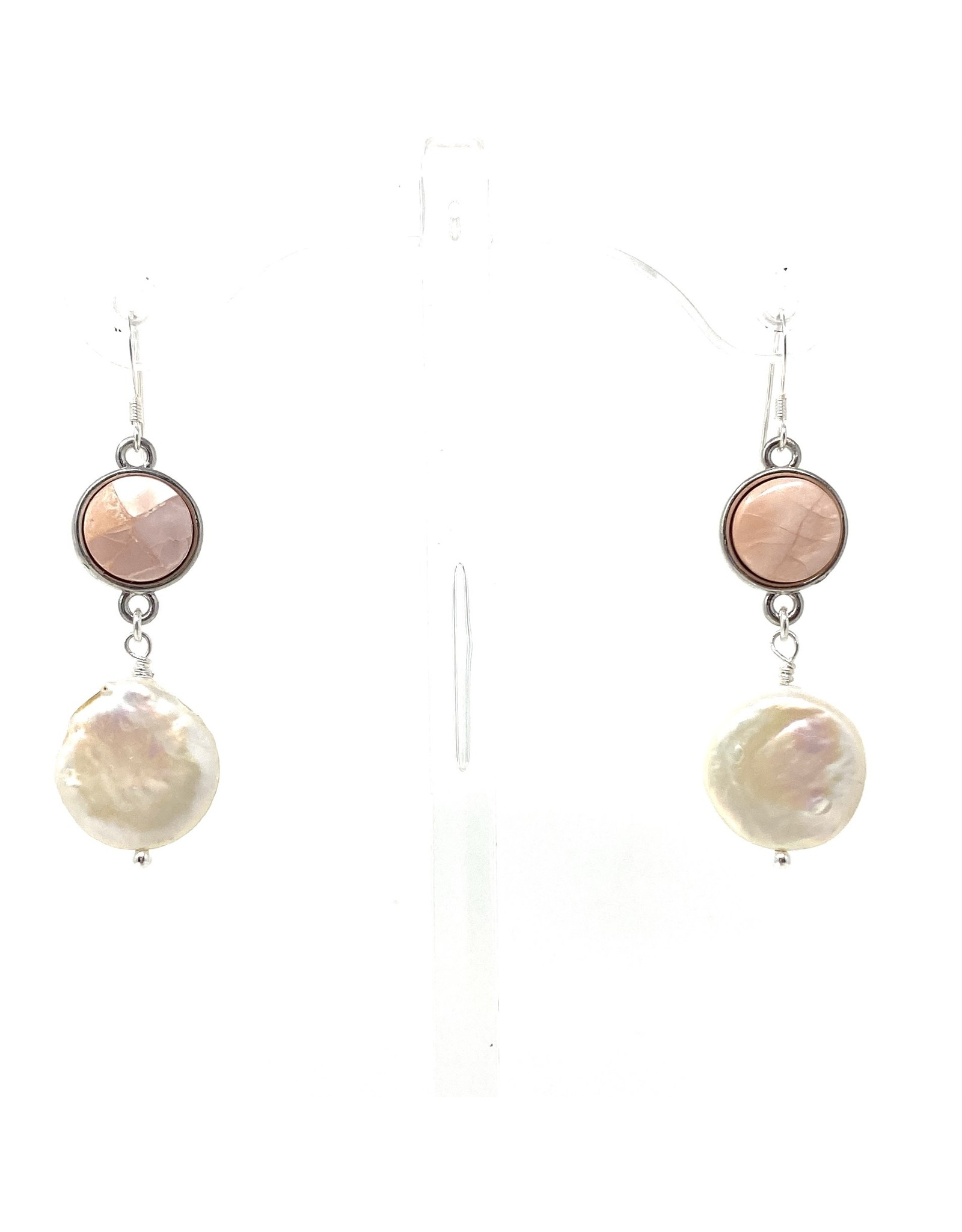 Round Blush MOP & LG Coin Pearl Earrings
