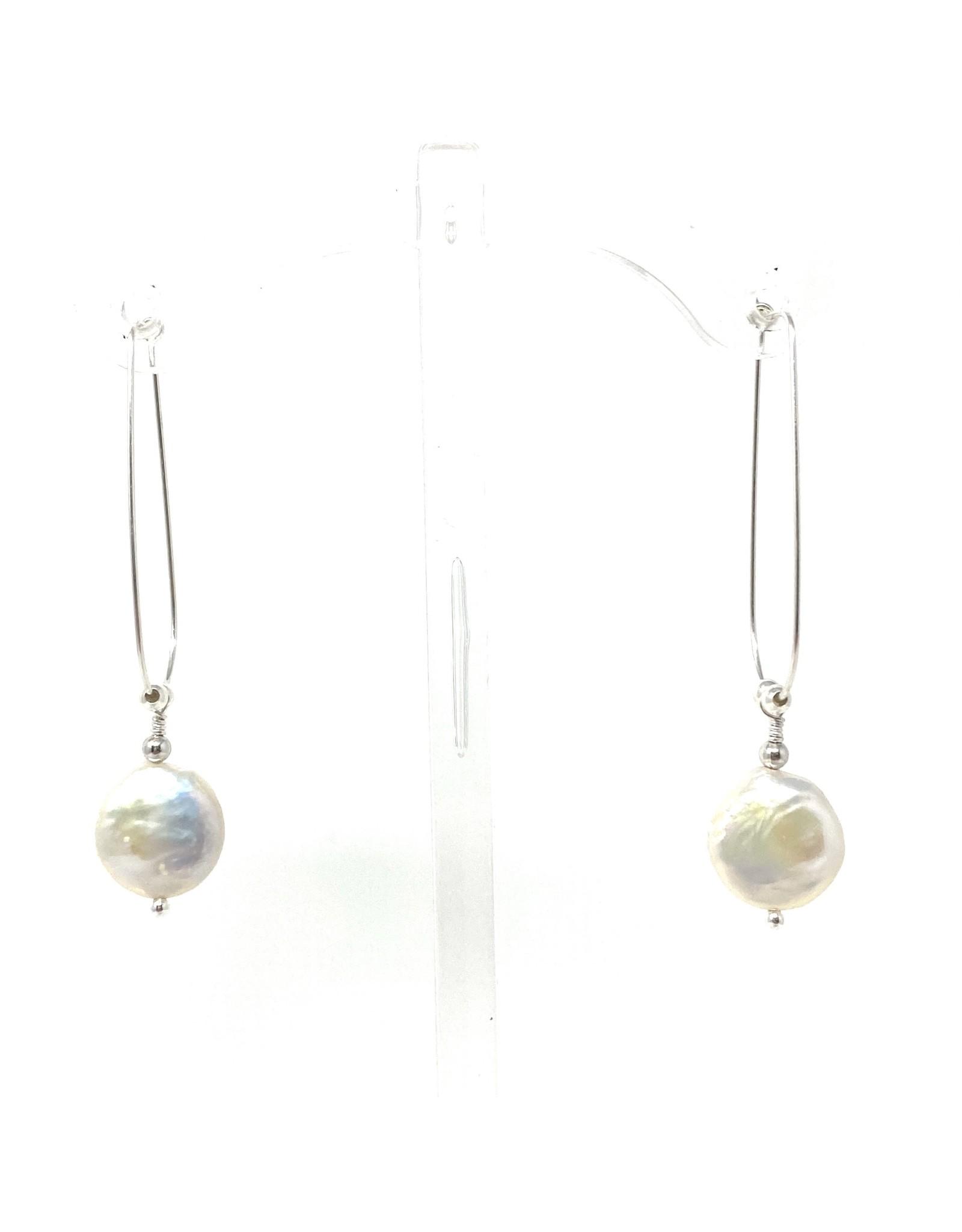 Teardrop Hoop & Coin Pearl Earrings