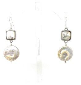 MOP & LG Coin Pearl Drop Earrings