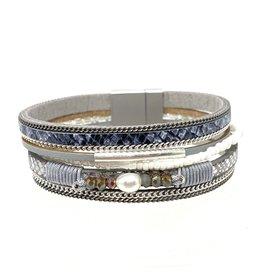 Sunrise USA Trading Grey Single Pearl/Crystal Bracelet
