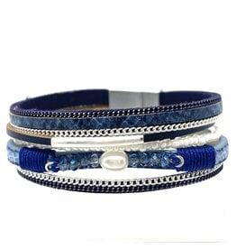 Sunrise USA Trading Navy Single Pearl/Crystal Bracelet