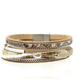 Sunrise USA Trading Beige Single Pearl/Crystal Bracelet