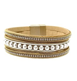 Sunrise USA Trading Beige Metal Bead Bracelet Bracelet
