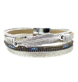 Sunrise USA Trading Silver Feather & Crystal Bracelet