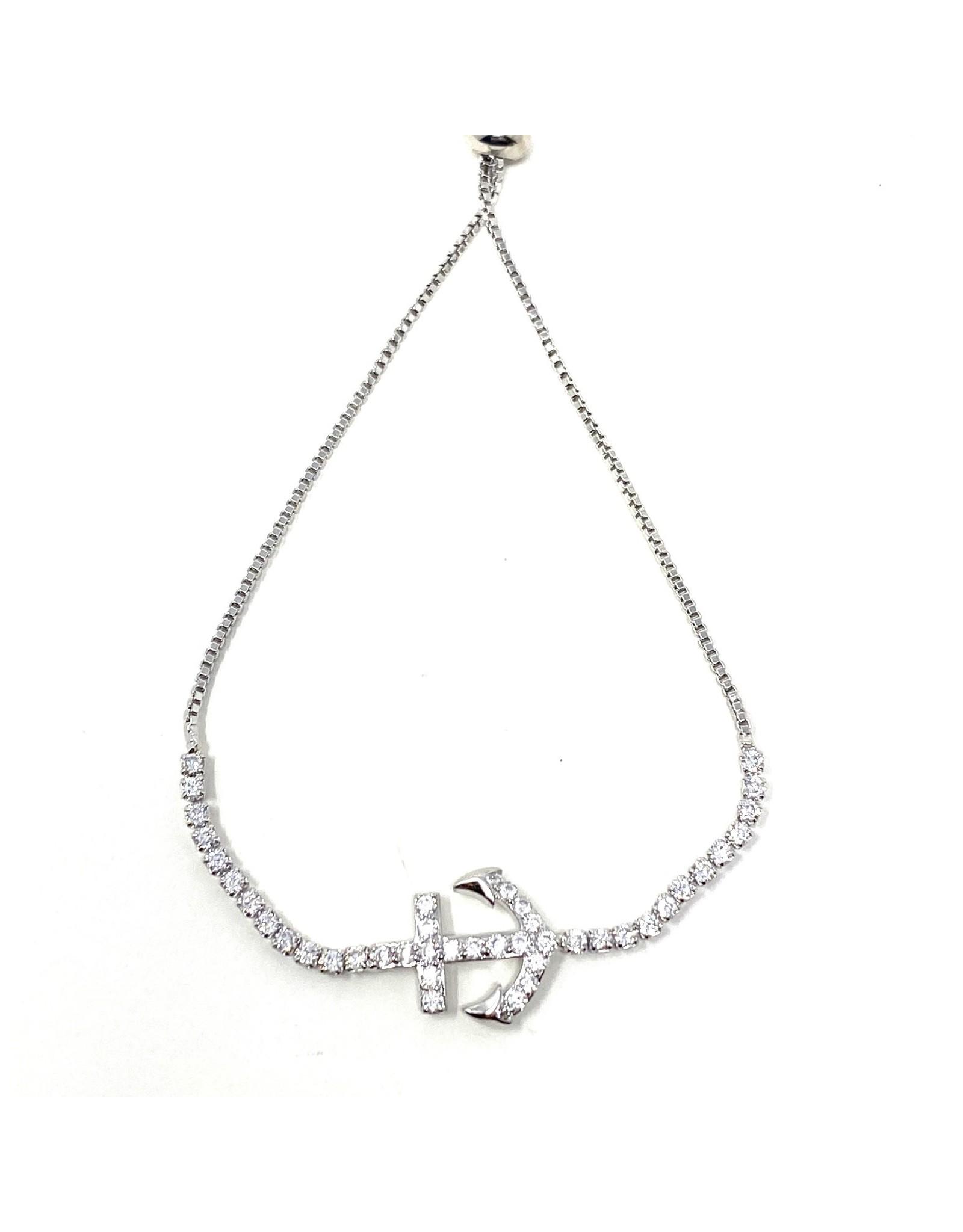 Sunrise USA Trading Silver Anchor CZ Adj. Bracelet