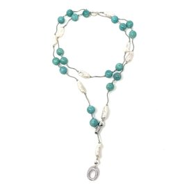 Blister Pearl & Amazonite Sterling Bar Lariat