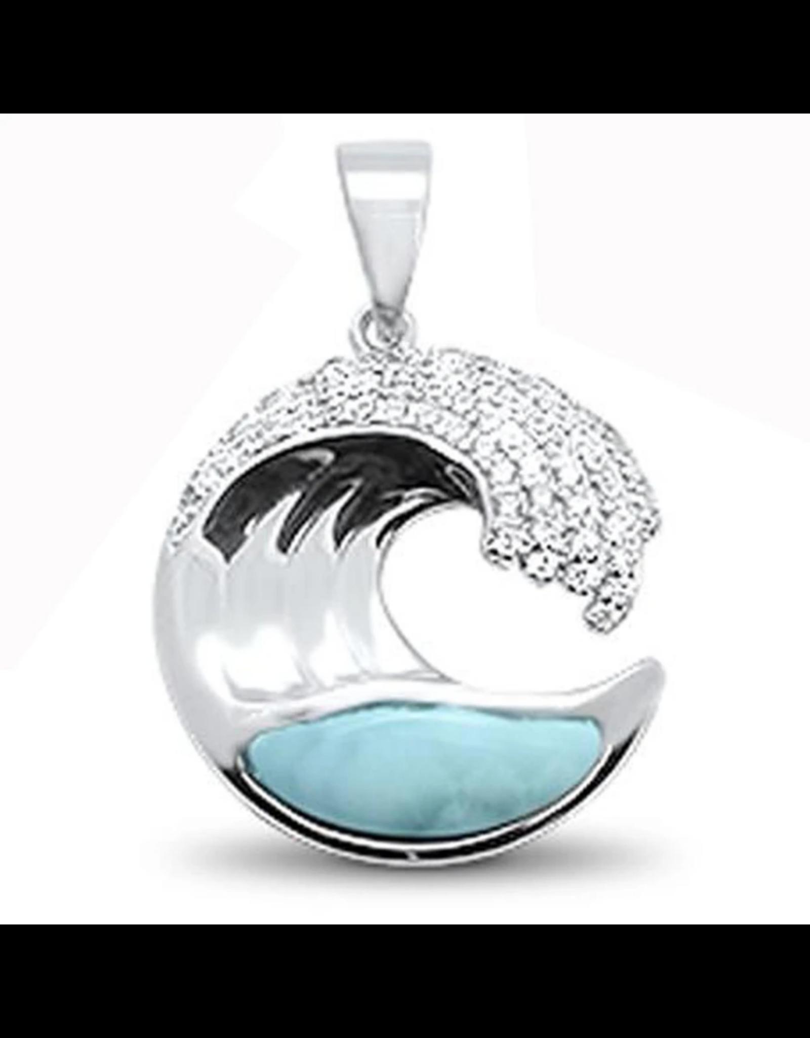 Sonara Jewelry Larimar CZ Wave Pendant
