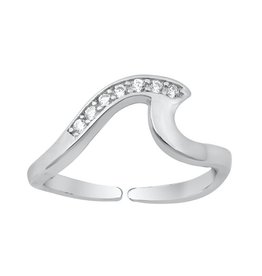 Sterling CZ Wave Toe Ring