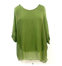Green Tie-Back Silk Sleeve Top