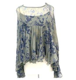 Sage Paisley Boho Silk Top