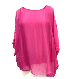 Hot Pink Tie-Back Silk Sleeve Top
