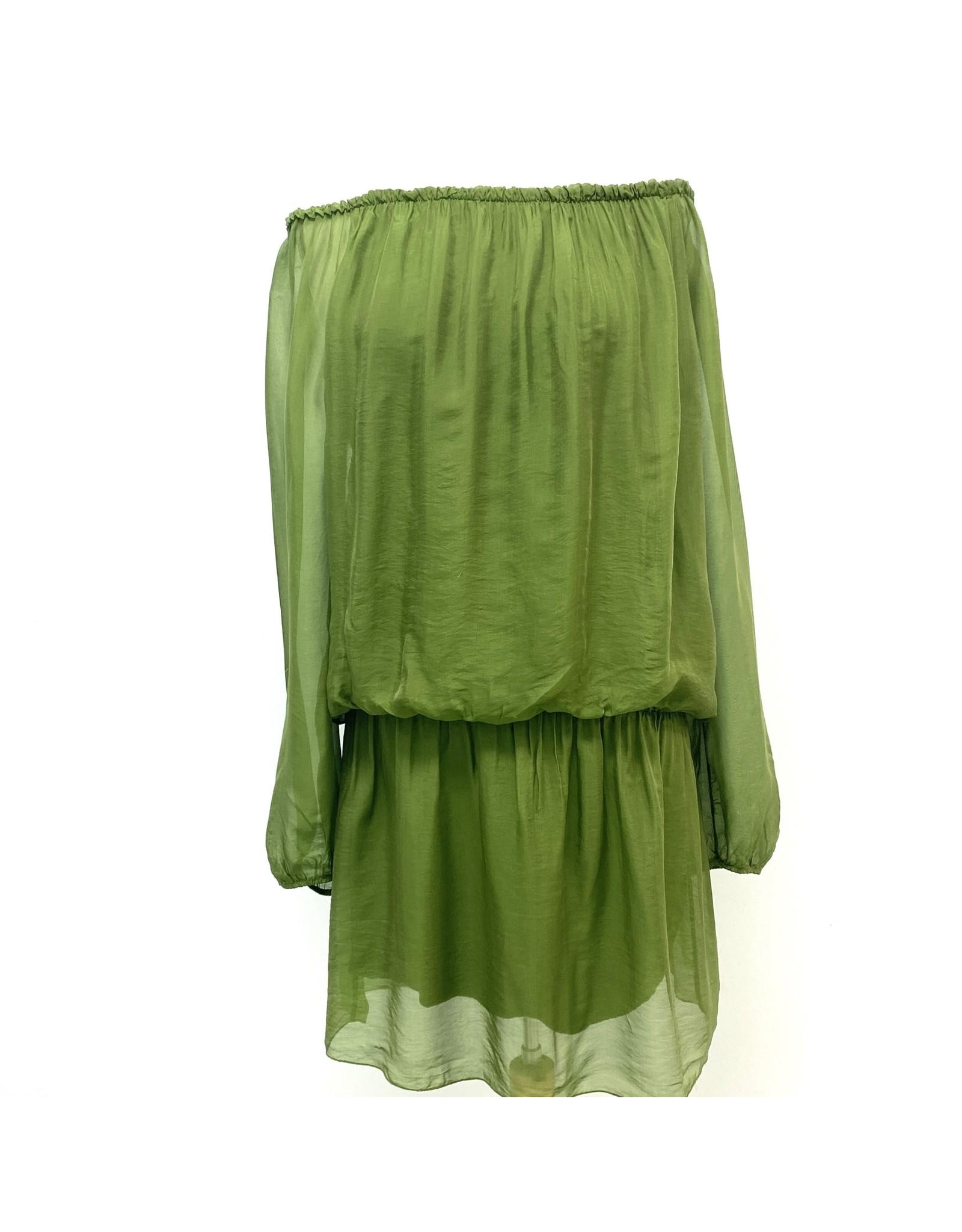 Kelly Green Silk Mini Dress