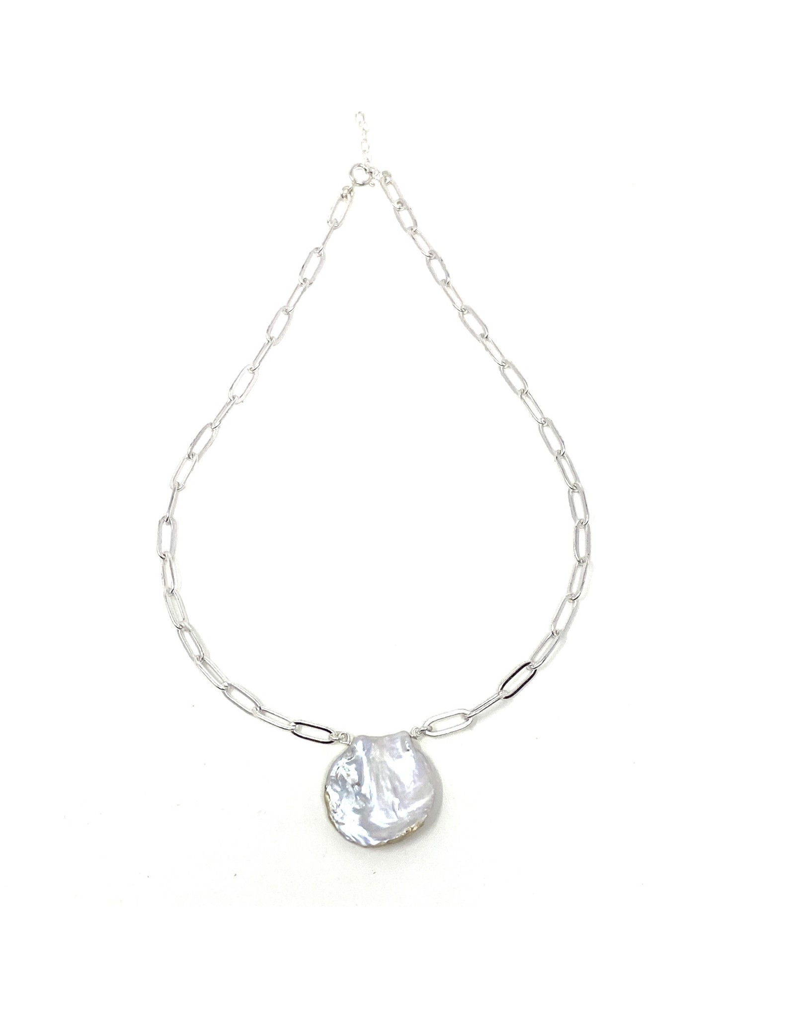 Paperclip Chain & Round Keshi Pearl