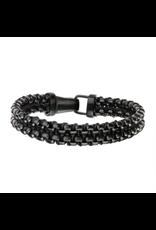 Inox Steel & Paracord Black Plated Bracelet