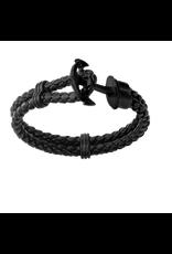 Inox Black Braided Leather & Steel Black Anchor Bracelet
