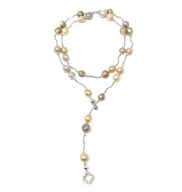 Belini Baroque Pearl & Sterling Lariat/Necklace