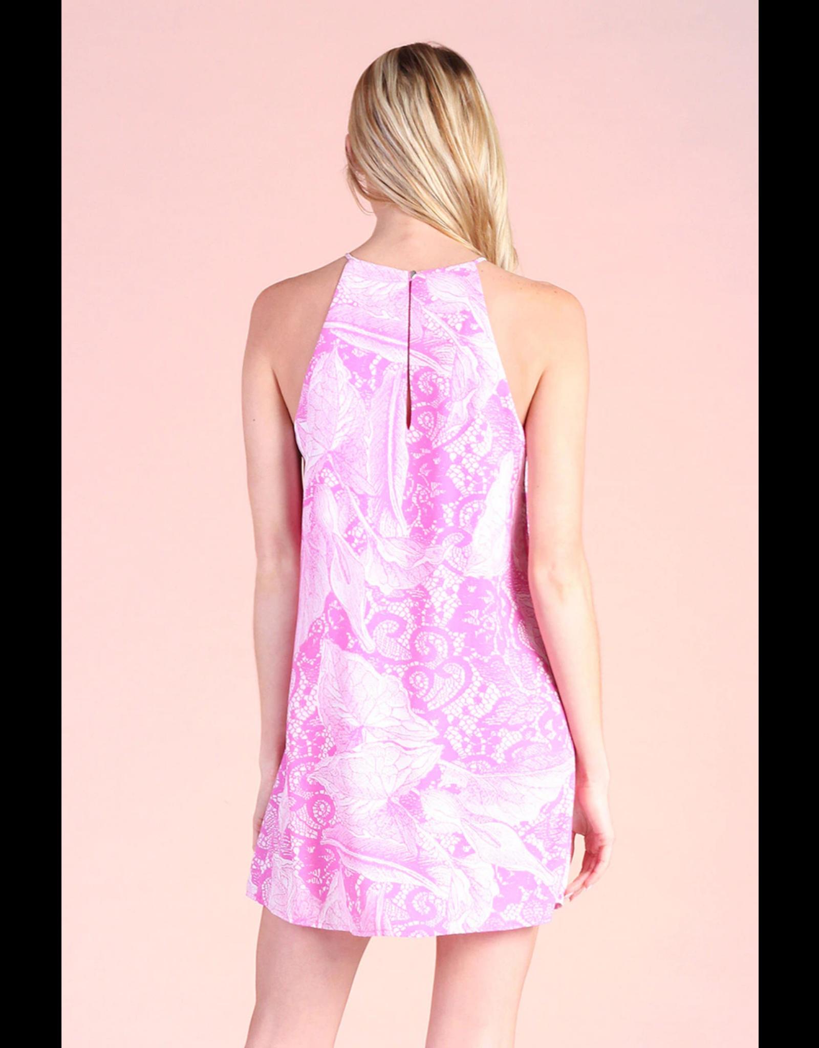 Pink Venetian Lace Shift Dress