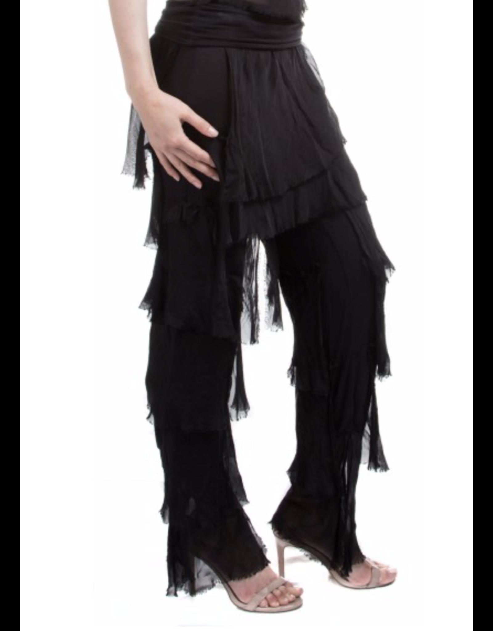 Black Silk Flutter Pants