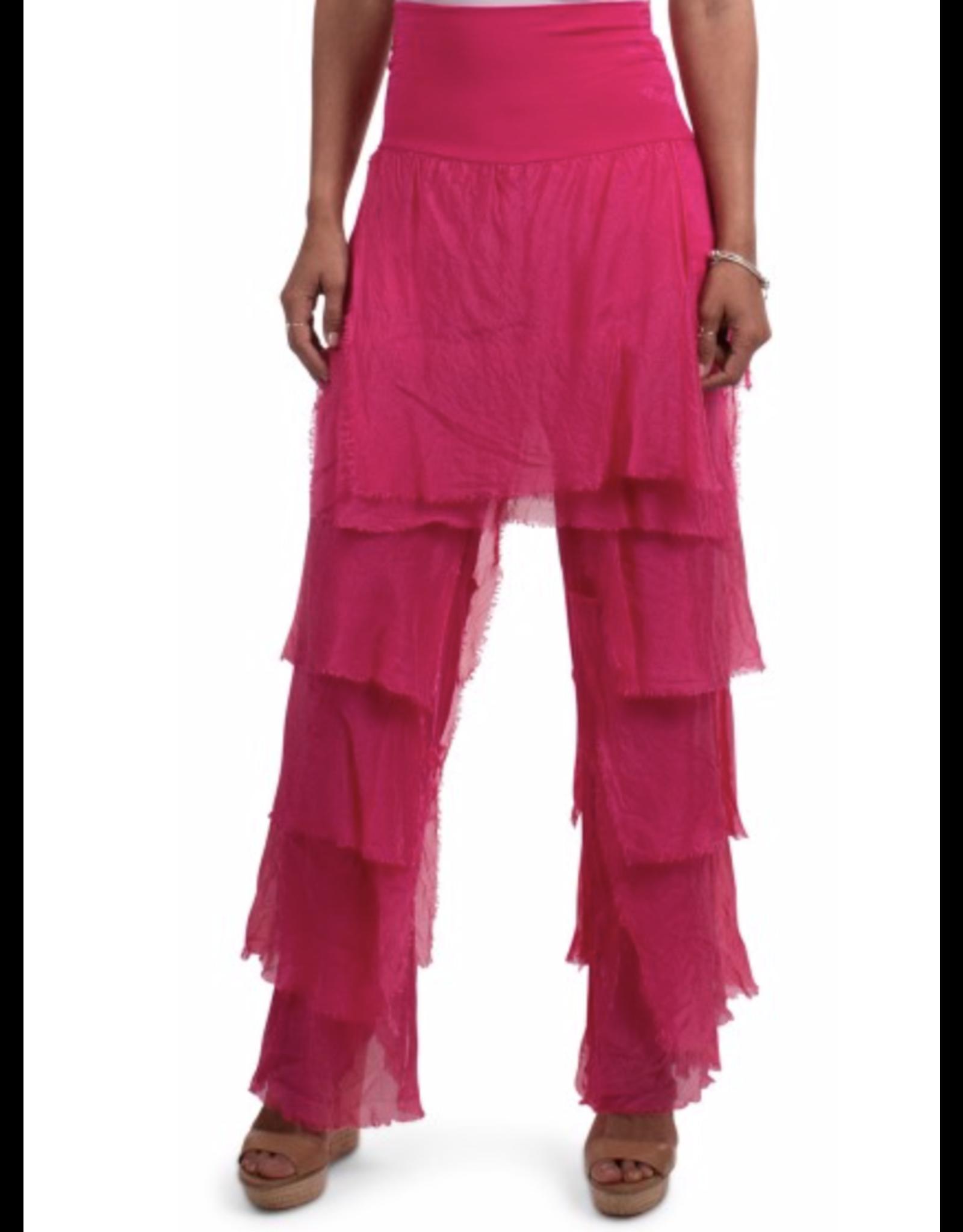 Fuchsia Silk Flutter Pants