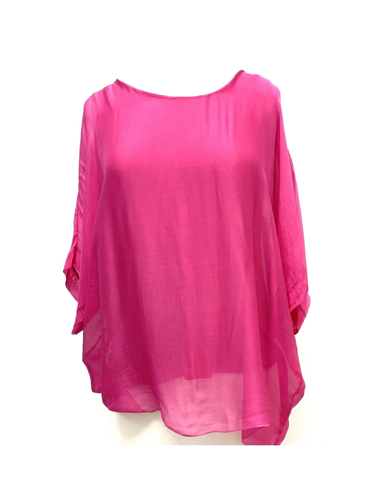 Fuchsia Silk Sleeve Top