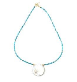 Round Keshi Petal & Turquoise Necklace