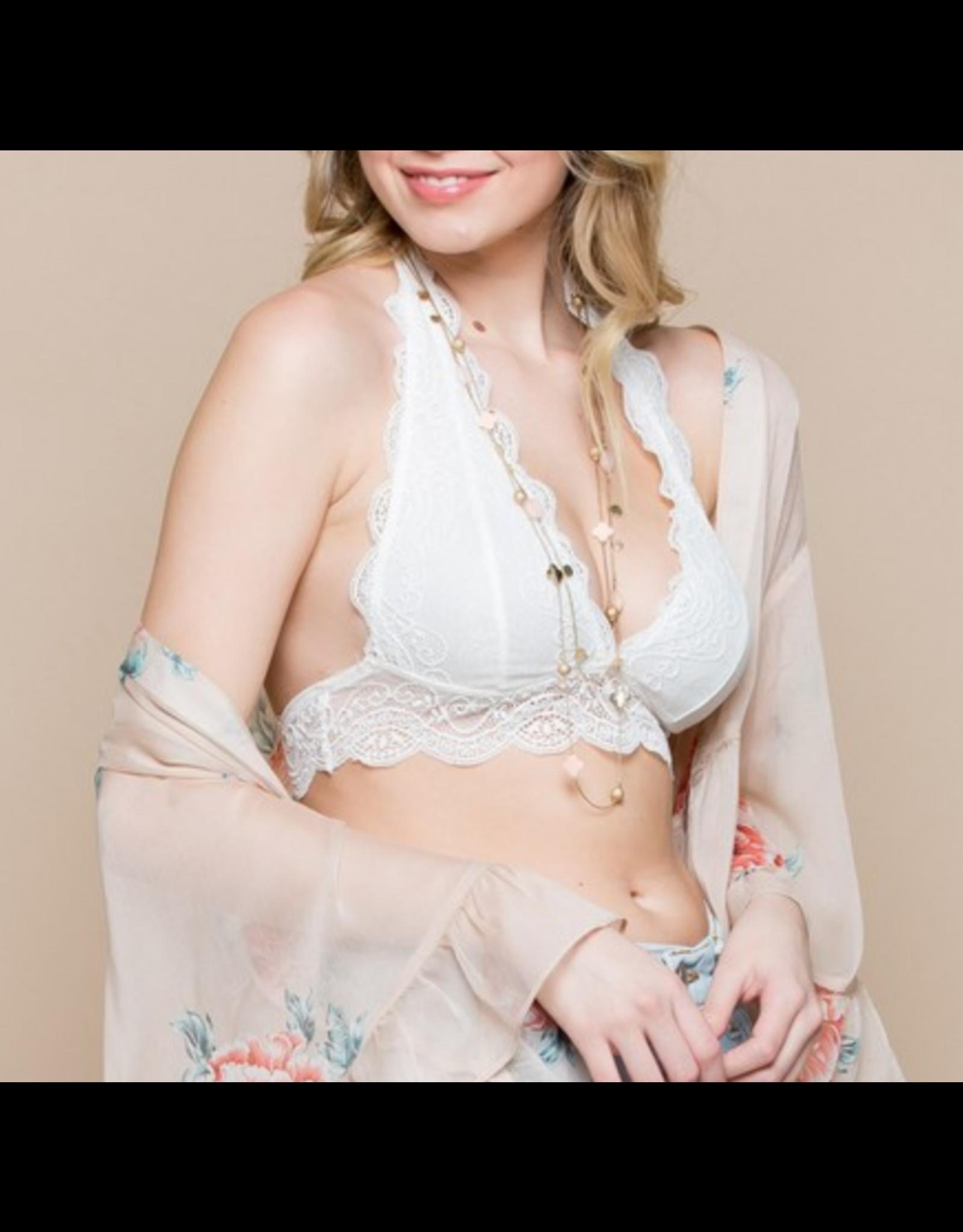 Off White Lace Halter Bralette