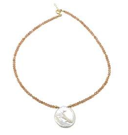 Round Keshi Pearl & Sunstone Necklace