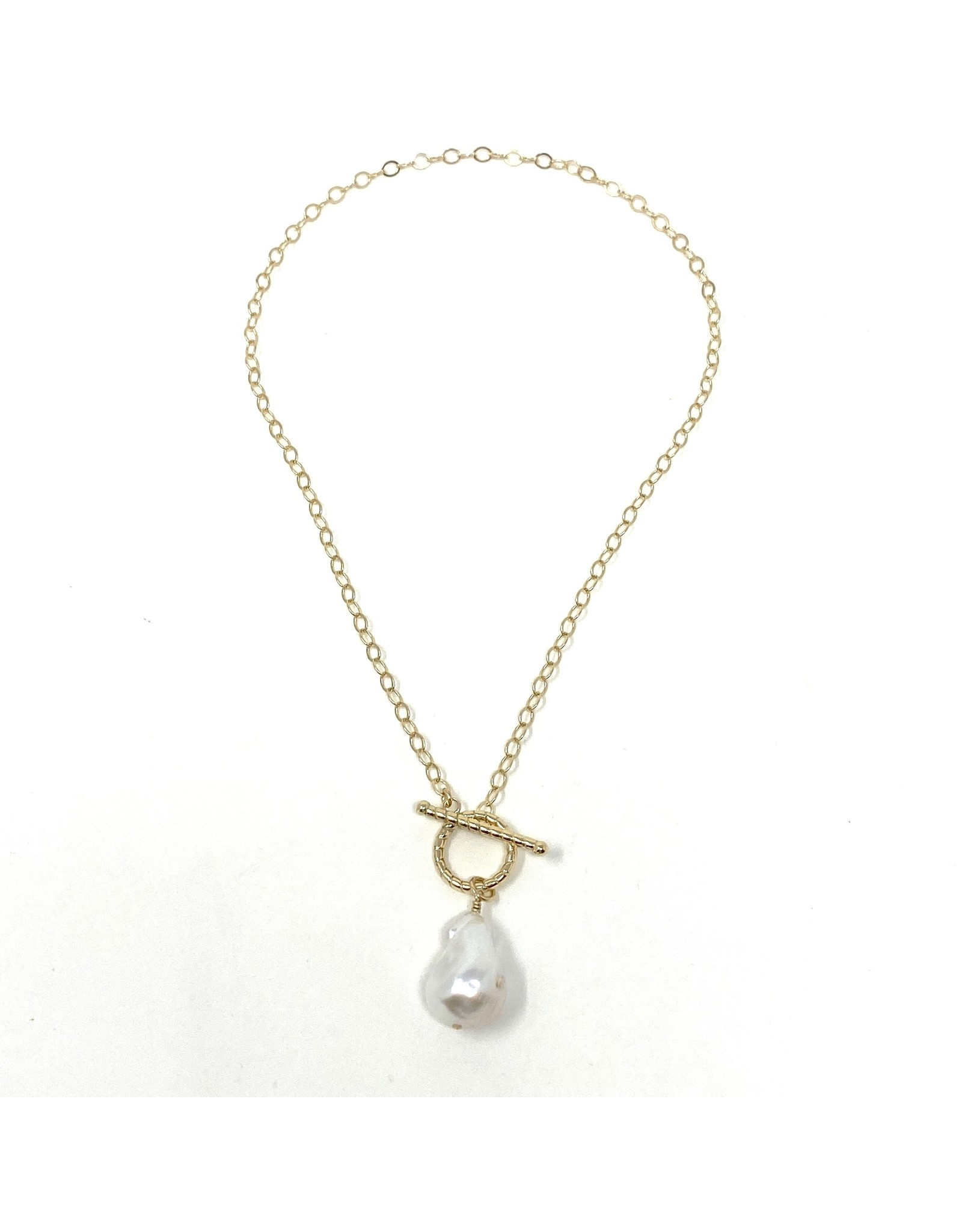 GF Cable Chain Baroque Pearl Drop