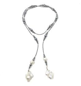 Silver Hematite & Dbl Baroque Pearl Lariat