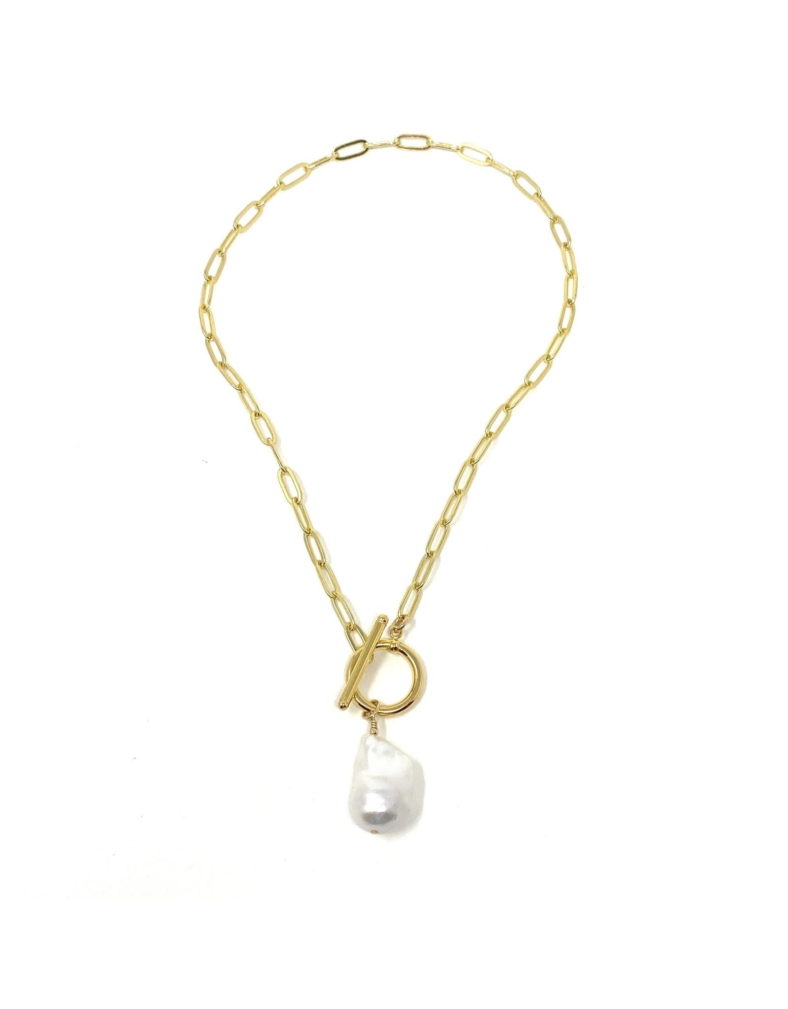 GF Paperclip Chain Baroque Pearl Drop