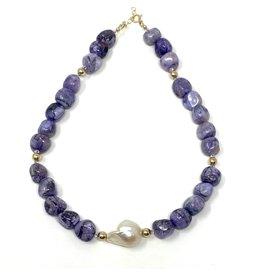 Charoite & Baroque Pearl Necklace