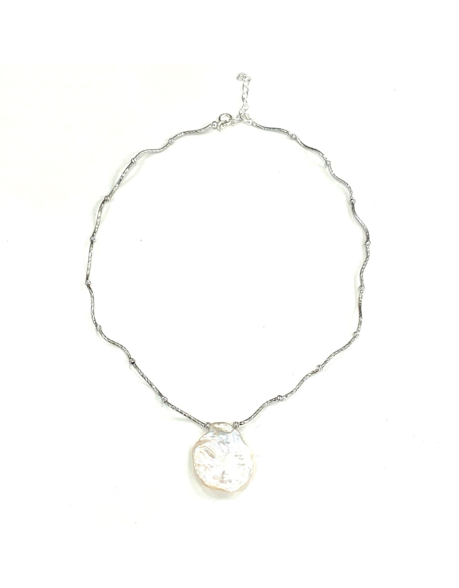 Sterling Bar & Round Keshi Necklace