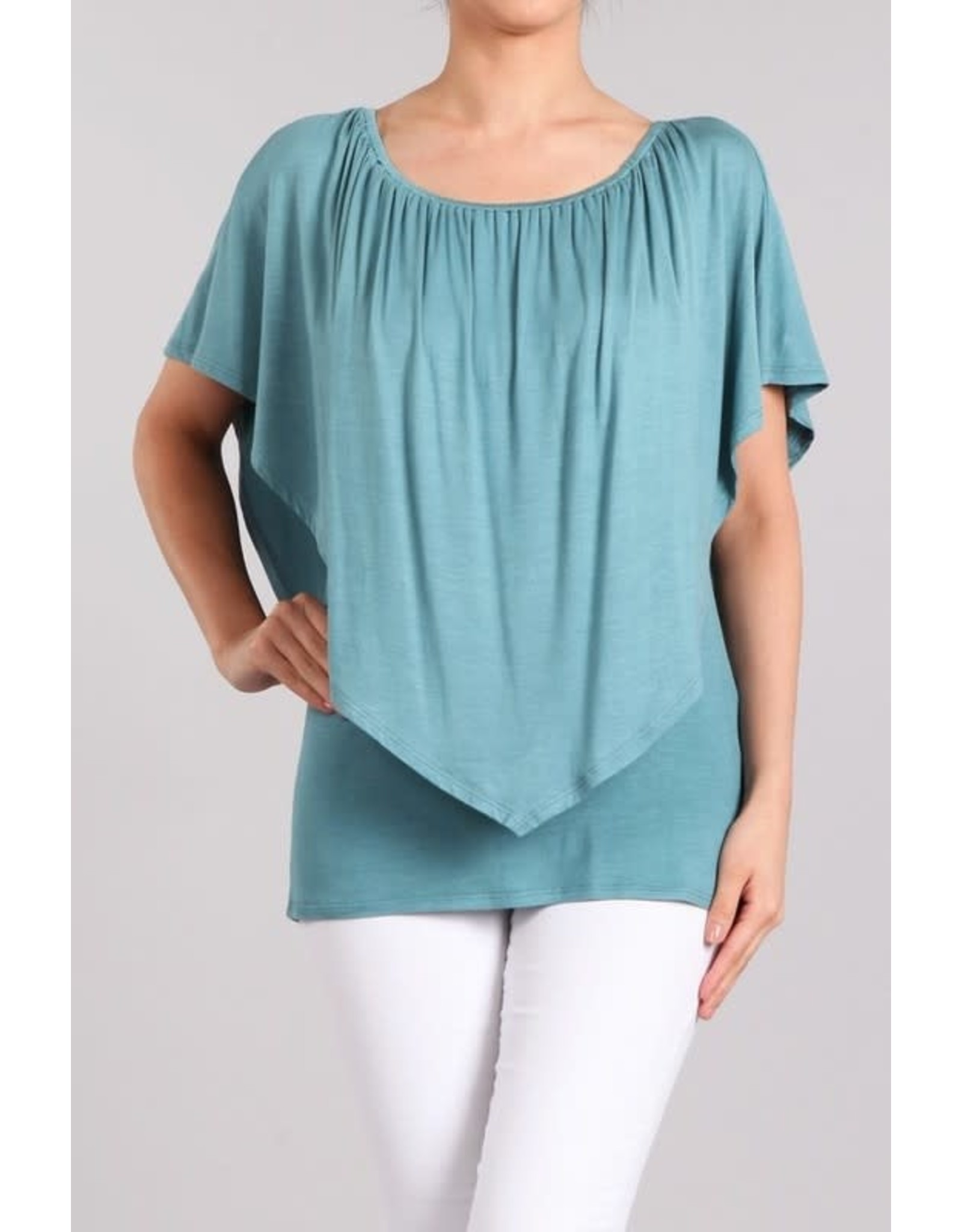 Convertible Poncho Top Teal Breeze
