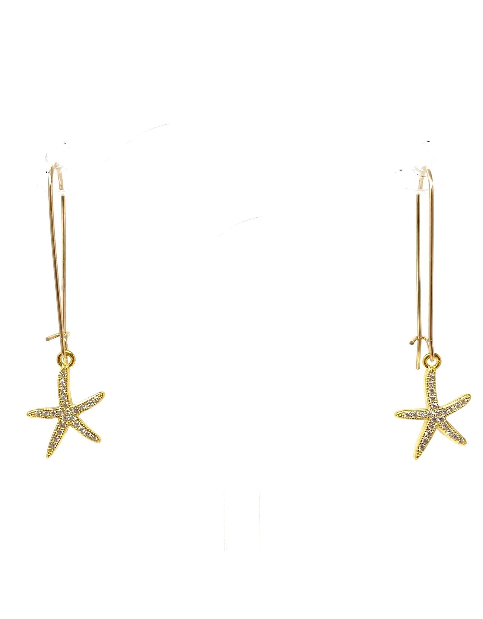 14kg GP Sterling CZ Starfish Earrings