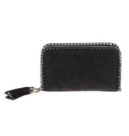 Black Dbl Zipper Wallet/Crossbody