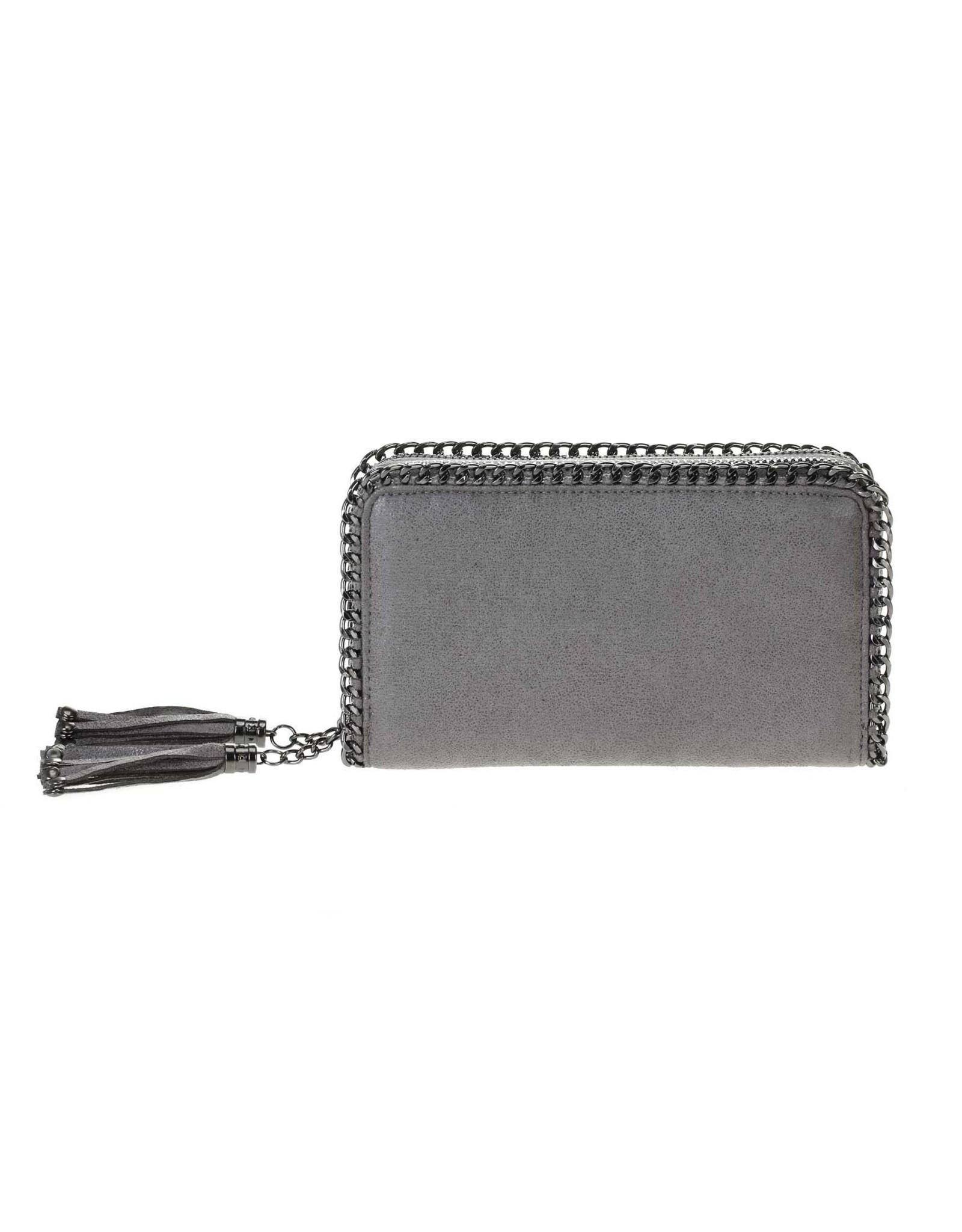Grey Dbl Zipper Wallet/Crossbody