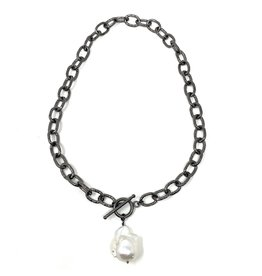 Oxidized Link & Baroque Pearl Drop