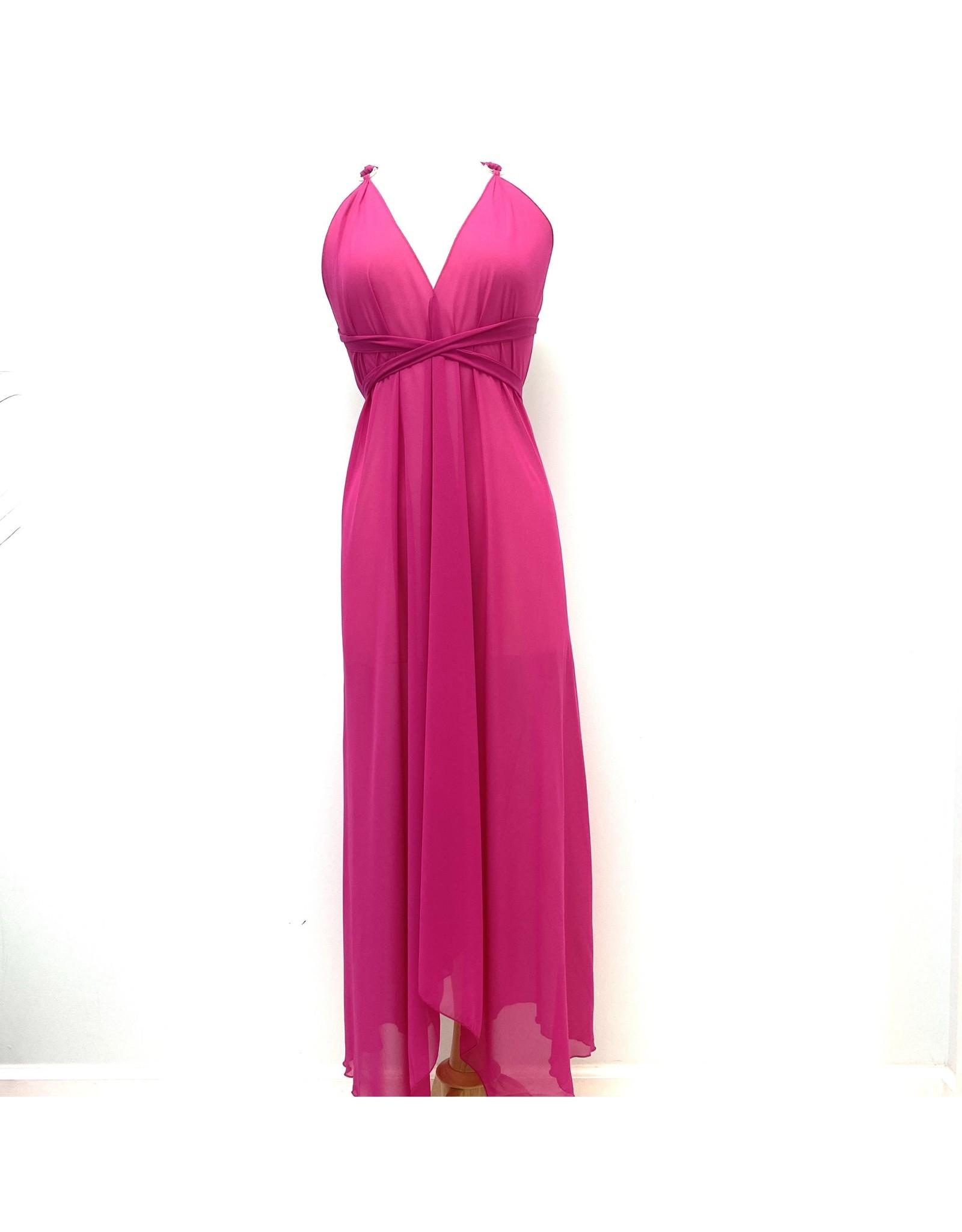 Indian Tropical Fashions Fuchsia Sheer Scarf Dress