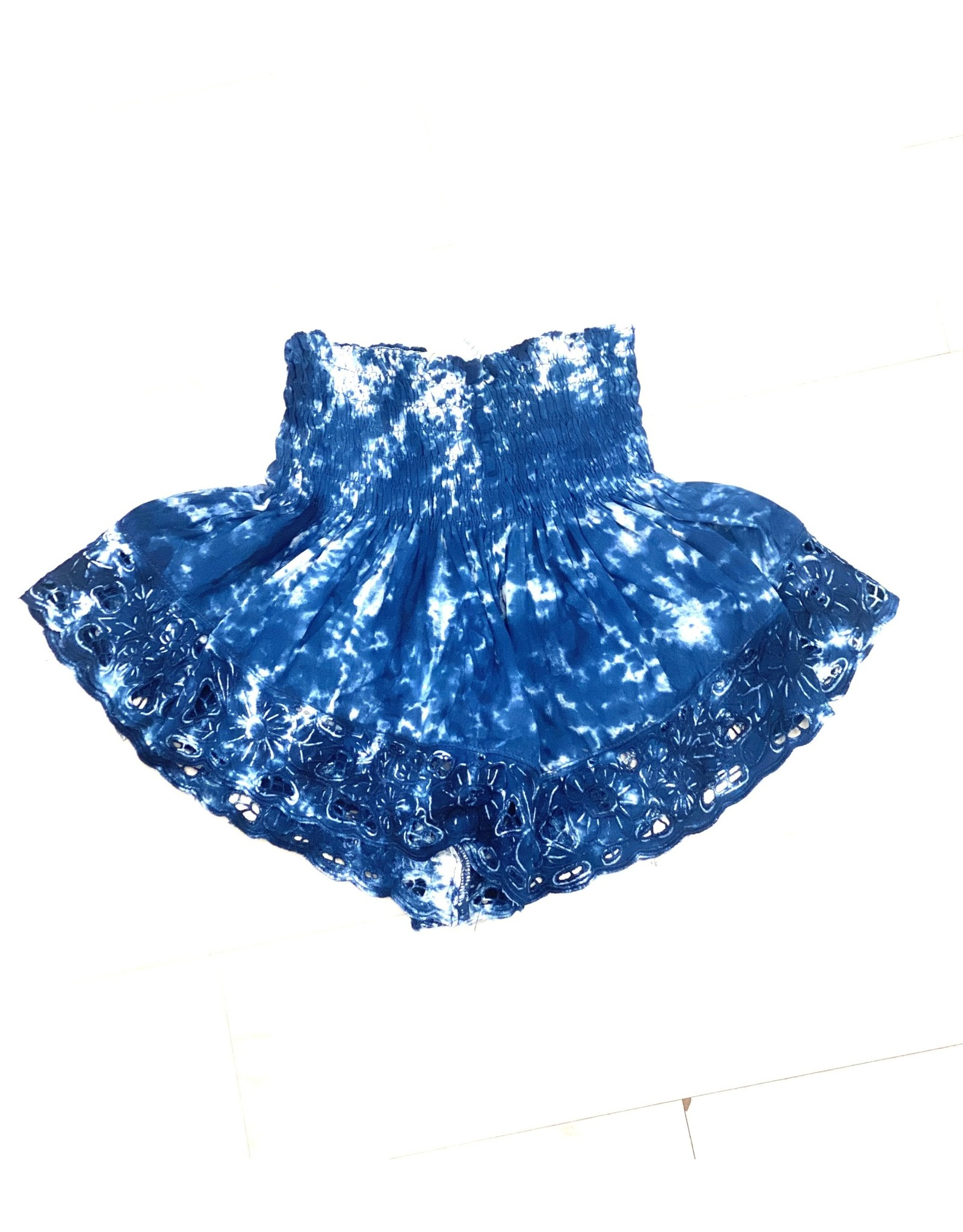 Navy Tie Dye Embroidered Shorts