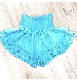 Aqua/White Embroidered Shorts
