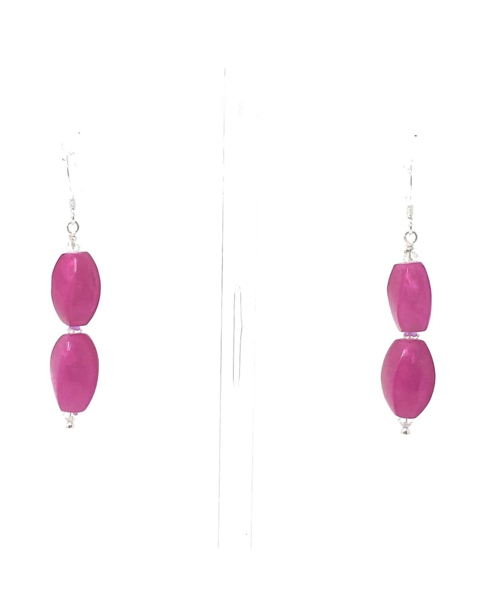 Double Fuchsia Capizi Shell Earrings