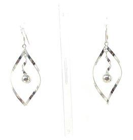 Blanc de Noir Twisted Ball Drop Fine Silver Earrings