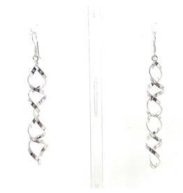 Blanc de Noir Long Twist Fine Silver Earrings