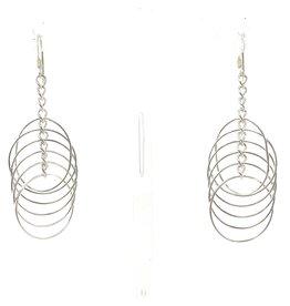 Blanc de Noir Circle Drop Fine Silver Earrings