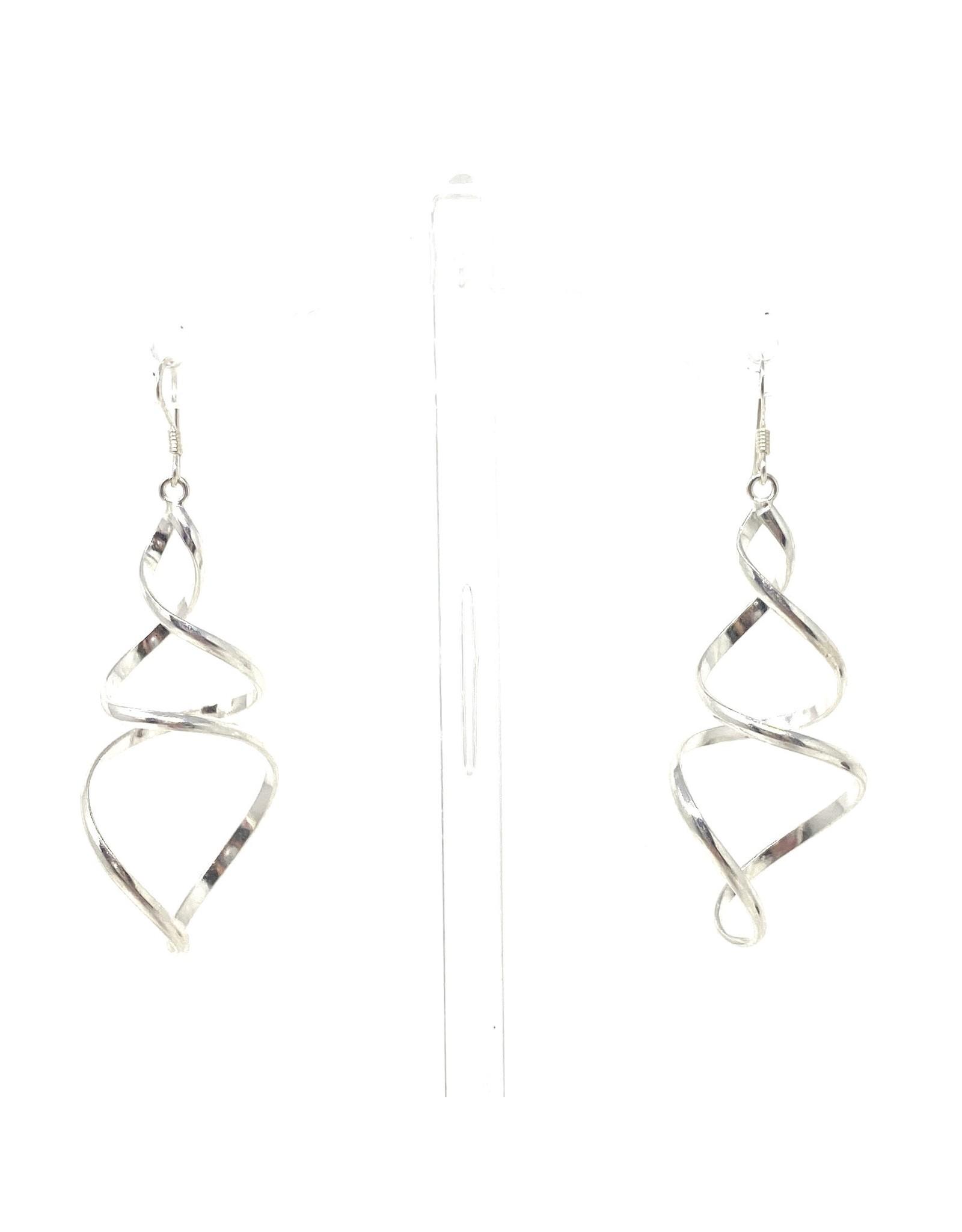 Blanc de Noir Large Twist Drop Fine Silver Earrings
