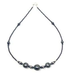 Tahitian Pearl & Hematite Necklace