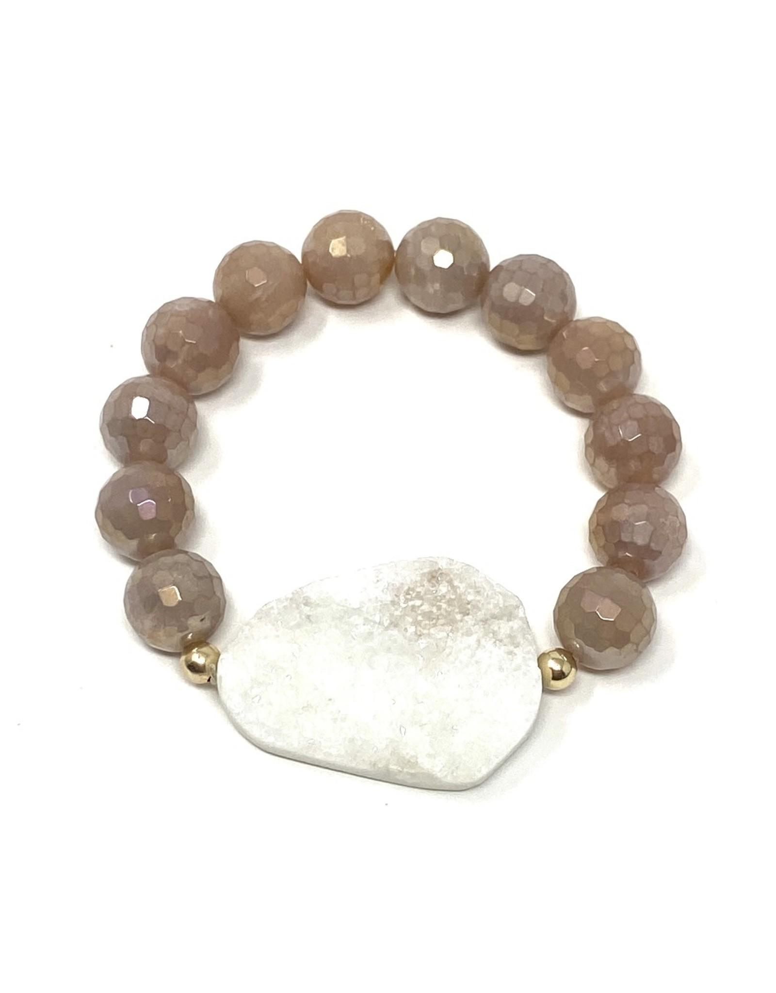Sunstone & White Druzy Agate Bracelet