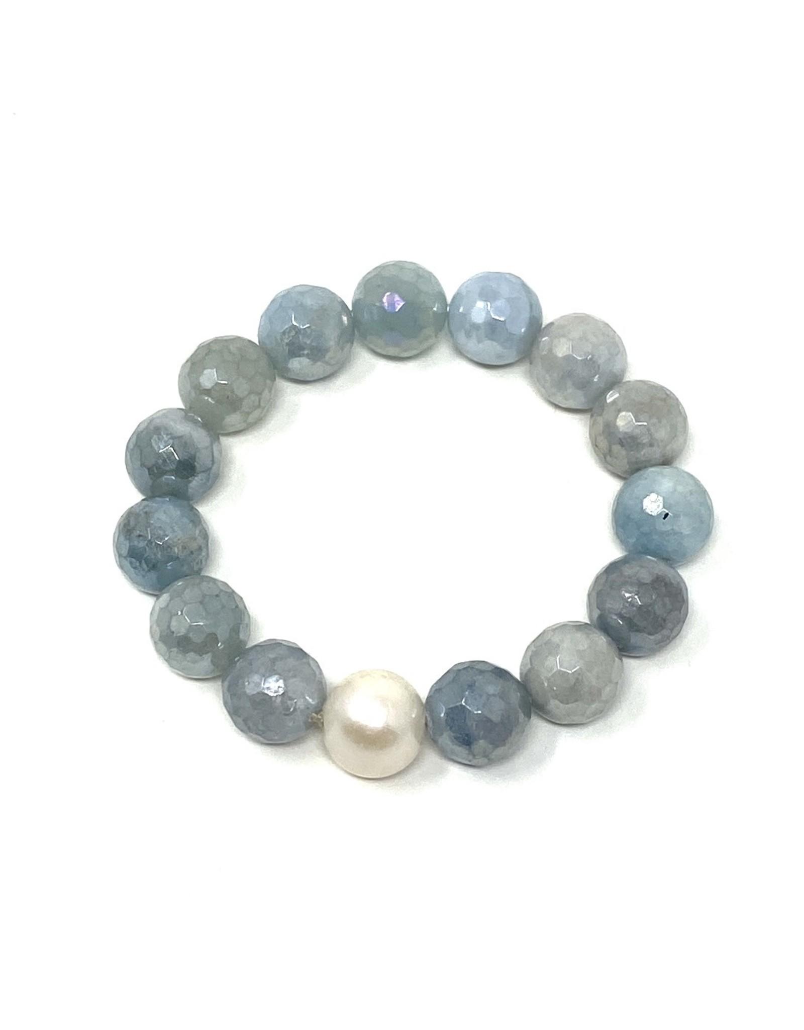 Coated  Aquamarine & FWP Bracelet